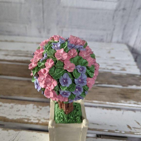 Dept 56 pink easter flowering topiaries purple tre